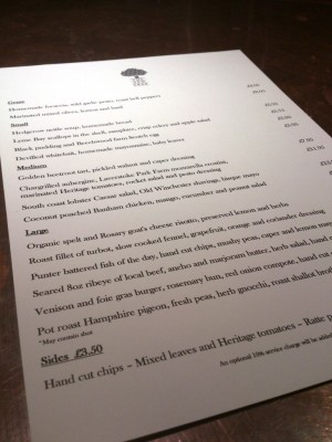 Yew tree menu